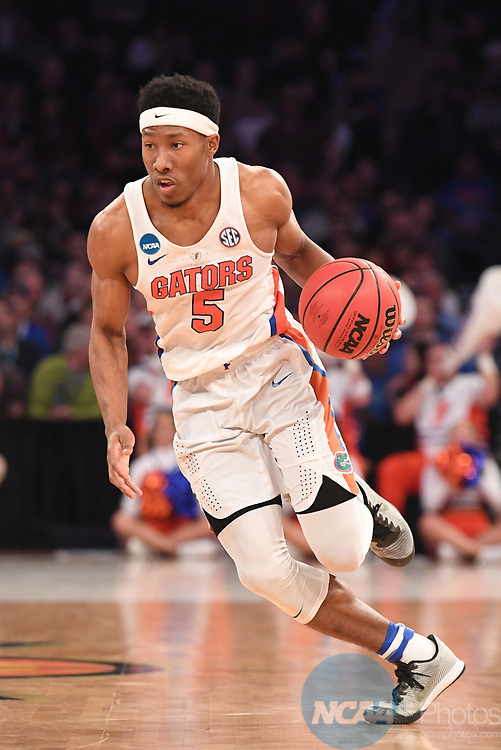 NEW YORK, NY - MARCH 26: KeVaughn Allen #5 of the Florida Gators during a game against the South Carolina Gamecocks during the 2017 NCAA Men's Basketball Tournament held at Madison Square Garden on March 26, 2017 in New York City. (Photo by Justin Tafoya/NCAA Photos via Getty Images)