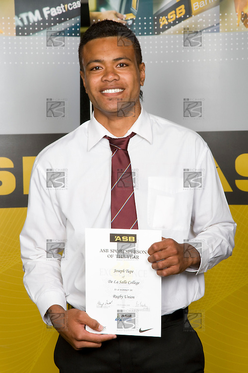 Boys Rugby Union winner Joseph Tupe from De La Salle College. ASB College Sport Young Sportperson of the Year Awards 2008 held at Eden Park, Auckland, on Thursday November 13th, 2008.