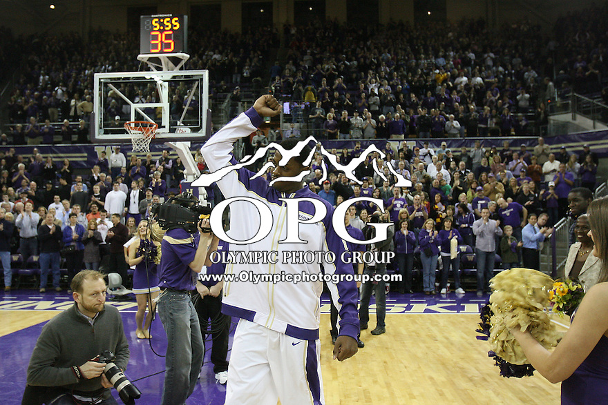 Mar 05, 2011:  Washington 's #11 Matthew Bryan-Amaning pump's his first in the air towards the fans as he is introduced during senior night.  USC defeated Washington 62-60 at Alaska Airlines Arena Seattle, Washington...