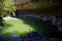Hamiton Pool Reserve is a Swimmers Summer Paradise to escape the blistering Texas summer heat; Texas; USA