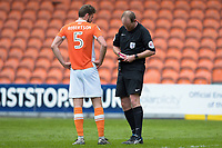 Referee Mark Brown books Blackpool's Clark Robertson <br /> with a yellow card<br /> <br /> Photographer Terry Donnelly/CameraSport<br /> <br /> The EFL Sky Bet League Two - Blackpool v Accrington Stanley - Friday 14th April 2017 - Bloomfield Road - Blackpool<br /> <br /> World Copyright &copy; 2017 CameraSport. All rights reserved. 43 Linden Ave. Countesthorpe. Leicester. England. LE8 5PG - Tel: +44 (0) 116 277 4147 - admin@camerasport.com - www.camerasport.com