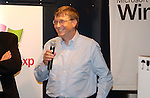 Bill Gates celebrates the launch of Windows XP at the Gateway Country Store October 24, 2001 in New York. Windows XP is the latest operating system from  Microsoft. (Photo by Lawrence Lucier)