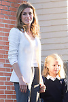 14.09.2012. Prince Felipe of Spain, Princess Letizia of Spain and their daughters Leonor and Sofia  arrive at 'Santa Maria de los Rosales' School in Aravaca near of Madrid, Spain. In the image (L-R) Princess Letizia and Princess Sofia (Alterphotos/Marta Gonzalez)