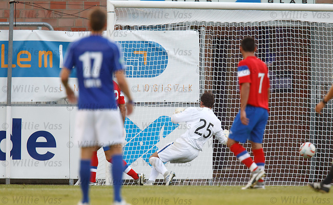 Neil Alexander is helpless as Simon Engelmann's sht hits the back of the net for Lotte's goal
