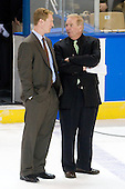 Greg Brown (BC - Assistant Coach), Jim Logue (BC - Assistant Coach) - The Boston College Eagles defeated the University of Minnesota Duluth Bulldogs 4-0 to win the NCAA Northeast Regional on Sunday, March 25, 2012, at the DCU Center in Worcester, Massachusetts.
