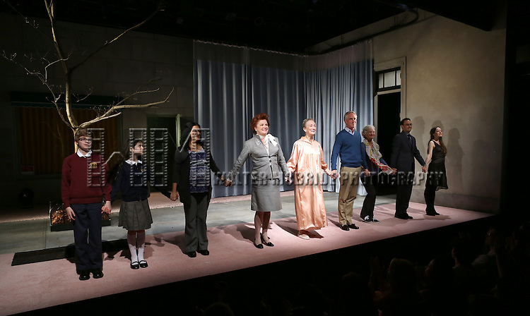 Griffin Birney, Makenna Ballard, Maria Elena Ramirez, Kate Mulgrew, Kathleen Chalfant, Richard Bekins, Mary Shultz, Greg Keller, Brooke Bloom during the Opening Night Curtain Call for the Vineyard Theatre Production of 'Somewhere Fun' at the Vineyard Theatre in New York City on June 04, 2013.
