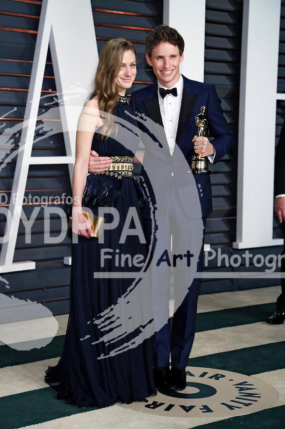 Hannah Bagshawe and Eddie Redmayne attending the Vanity Fair Oscar Party 2015 on February 22, 2015 in Beverly Hills, California.