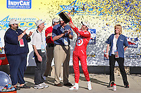 Dan Wheldon celebrates in Victory Lane after winning  the IndyCar Series Kansas Lottery Indy 300 at Kansas Speedway in Kansas City, Kansas on April 29, 2007.