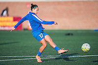 Allston, MA - Sunday, April 24, 2016: Boston Breakers midfielder Kyah Simon (17) during warmups. The Boston Breakers play Seattle Reign during a regular season NSWL match at Harvard University.