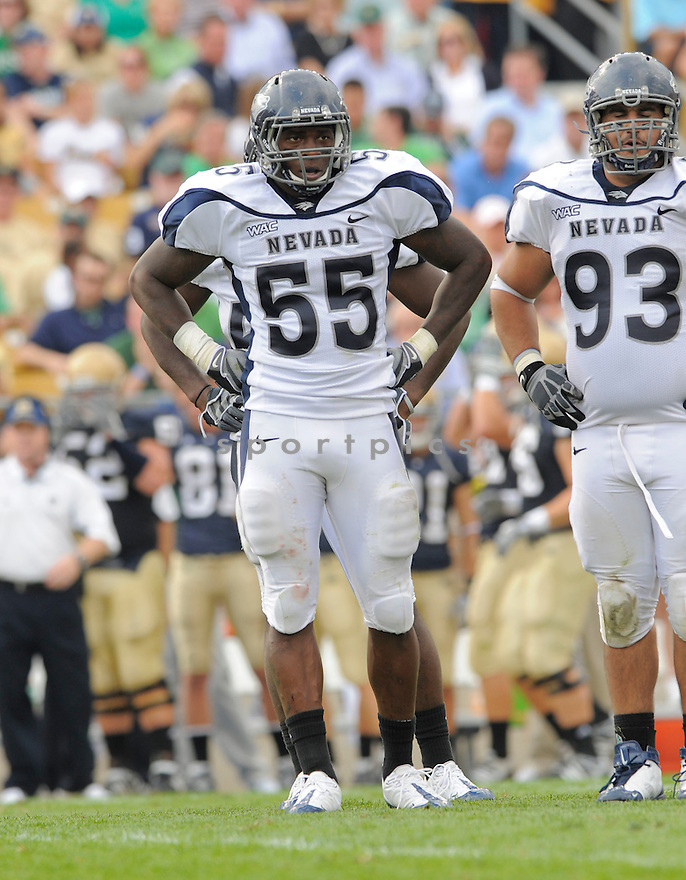 DONTAY MOCH, of the University of Nevada Wolf Pack , in action during the Wolf Pack game against the Notre Dame Irish in South Bend, IN, on September 05, 2009.  Notre Dame  wins 35-0.
