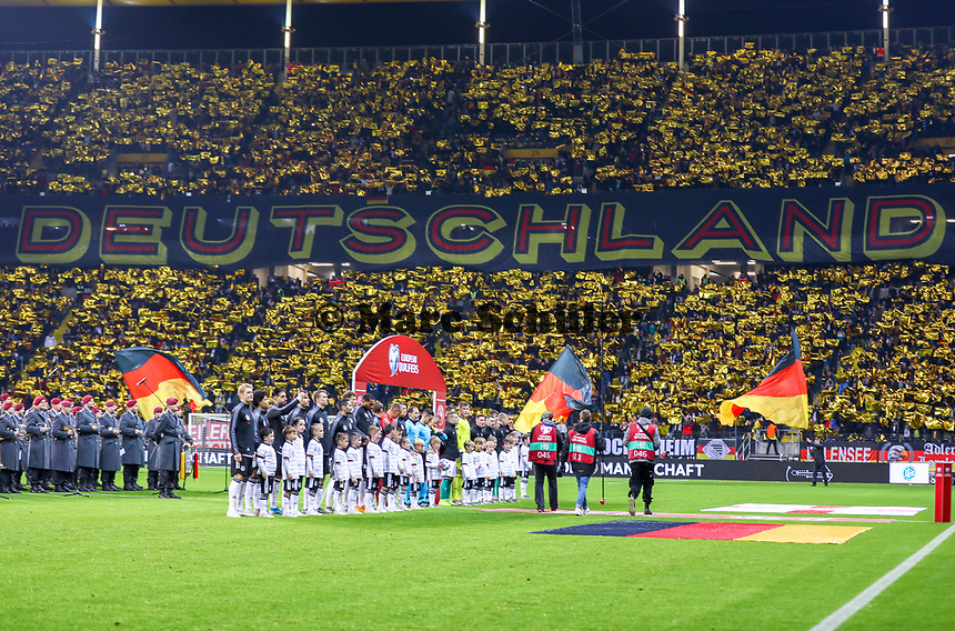 "Choreographie ""Deutschland"" zum Einlauf der Mannschaften - 19.11.2019: Deutschland vs. Nordirland, Commerzbank Arena Frankfurt, EM-Qualifikation DISCLAIMER: DFB regulations prohibit any use of photographs as image sequences and/or quasi-video."