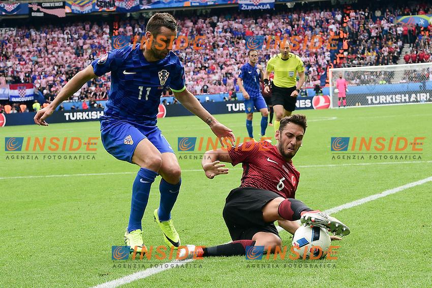 Darijo Srna (Croatia) vs Hakan Calhanoglu (Turkey)  <br /> Paris 12-06-2016 Parc des Princes Football Euro2016 Turkey - Croatia / Turchia - Croazia Group Stage Group D. Foto Panoramic / Insidefoto