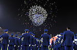 September 12, 2015 - Colorado Springs, Colorado, U.S. - Air Force Academy Drum and Bugle Corps members stand at attention during halftime fireworks during Mountain West Conference action between the San Jose State Spartans and the Air Force Academy Falcons at Falcon Stadium, U.S. Air Force Academy, Colorado Springs, Colorado.  Air Force defeats San Jose State 37-16.