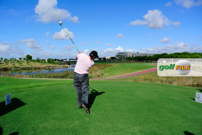 Jose Maria Olazabal (ESP) tees off the 18th tee during Thursday's Round 1 of the Portugal Masters at the Oceanico Victoria Golf Course, Vilamoura, Portugal 10th October 2012 (Photo Eoin Clarke/www.golffile.ie)