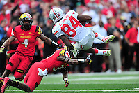 Corey Smith of the Buckeyes' is upended by the Terrapins' defense. Ohio State trounced Maryland 52-24 during a game at the Capital One Field in Byrd Stadium, College Park, MD on Saturday, October 4, 2014.  Alan P. Santos/DC Sports Box