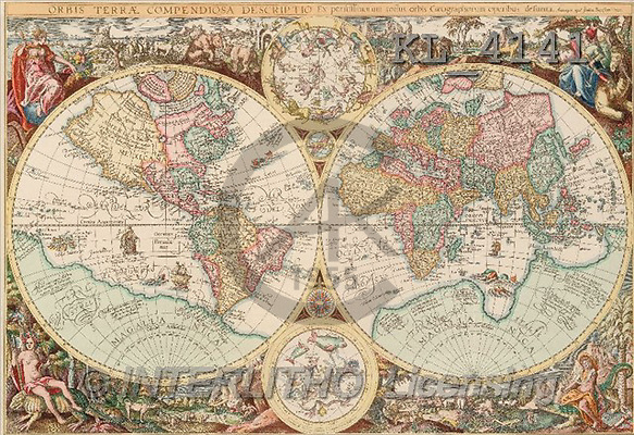 Interlitho, MASCULIN, paintings, old world map(KL4141,#M#)