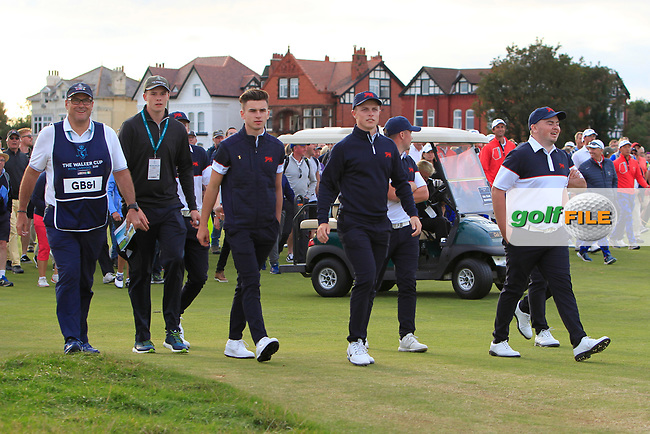GB&I team members supporting Thomas Sloman (GB&I) on the 18th during Day 2 Singles at the Walker Cup, Royal Liverpool Golf CLub, Hoylake, Cheshire, England. 08/09/2019.<br /> Picture Thos Caffrey / Golffile.ie<br /> <br /> All photo usage must carry mandatory copyright credit (© Golffile   Thos Caffrey)