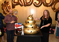 "LOS ANGELES - MAY 21: Matt Weitzman, EP/Co-Creator/Showrunner and Marci Proietto, 20th Century Fox TV/EVP, Animation attend the 300th episode table ready and cake cutting celebration for 20th Century Fox Television's ""American Dad"" on May 21, 2019 in Los Angeles, California. (Photo by Frank Micelotta/20th Century Fox Television/PictureGroup)"