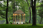 Gazebo in Eagles Mere, PA in Spring with decorative lights.