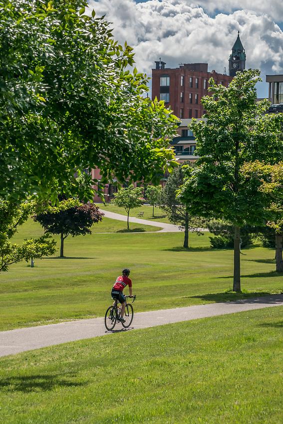 Bike path at Mattson Park in Marquette, Michigan