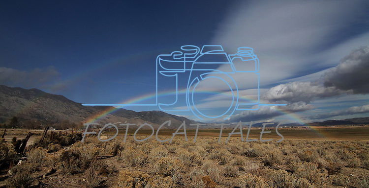 A double rainbow over the Sierra, seen near Centerville, Nev. on Wednesday, Nov. 21, 2012..Photo by Cathleen Allison