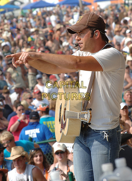 RODNEY ATKINS.Performs at the Jamboree In The Hills 2008, Morristown, Ohio, USA..July 19th, 2008.half length stage concert live gig performance music baseball cap hat brown white t-shirt guitar fans crowd audience singing arms hands pointing  .CAP/ADM/JN.©Jason L Nelson/AdMedia/Capital Pictures.