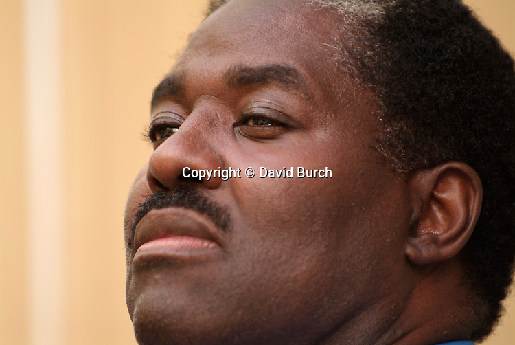 African American man, thoughtful  expression
