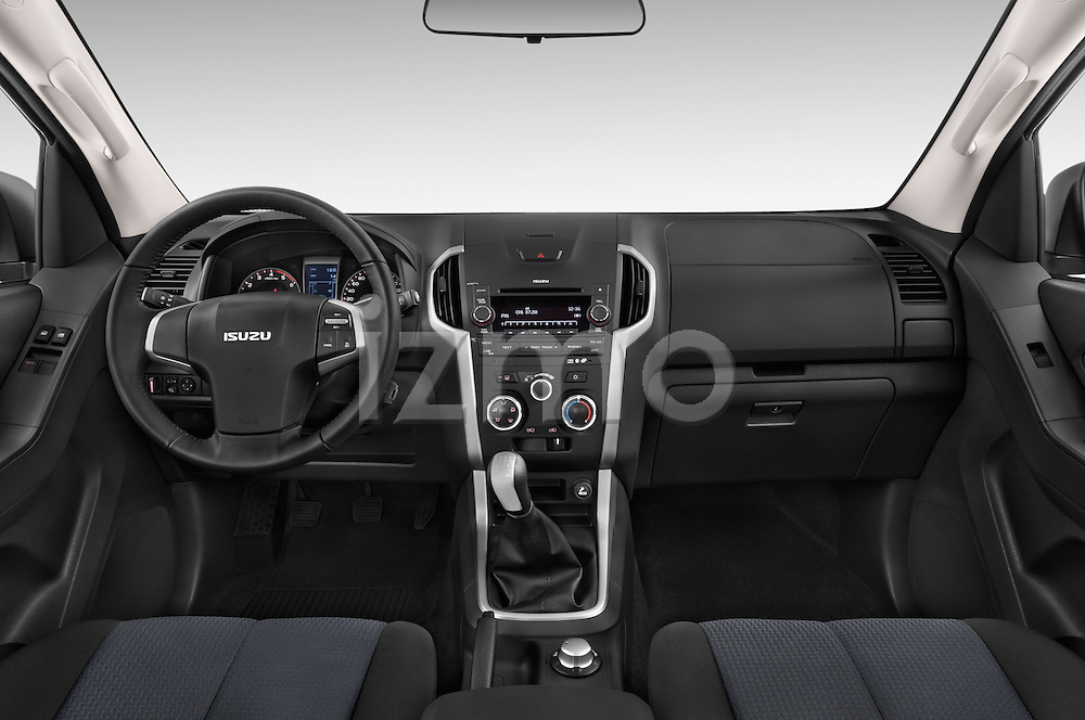 Stock photo of straight dashboard view of a 2015 Isuzu D-Max L+ 4 Door Pickup 2WD Dashboard