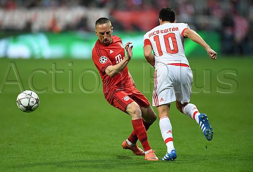 05.04.2016. Munich, Germany. UEFA Champions League FC Bavaria Munich versus Benfica Lisbon. Franck Ribery (FC Bayern Munich) beaten by Nicolas Gaitan (Benfica)