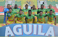 IBAGUÉ - COLOMBIA, 10-02-2018:Formación del Atlético Huila contra  el Deportivo Cali durante partido por la fecha 2 de la Liga Águila I 2018 jugado en el estadio Manuel Murillo Toro de la ciudad de Ibagué. / Team of Atletico Huila agaisnt  Deportivo Cali during match for the date 2 of the Aguila League I 2018 played at Manuel Murillo Toro in Ibague city. VizzorImage / Juan Carlos Escobar / Contribuidor