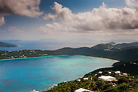 Blue waters and the coast of St. Thomas, U.S. Virgin Islands.