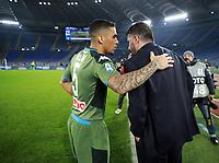 11th January 2020; Stadio Olympico, Rome, Italy; Serie A Football, Lazio versus Napoli; Allan of Napoli speaks with Gennaro Gattuso coach of Napoli - Editorial Use