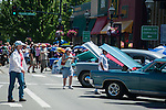 A line of classic cars fill the main street during Legends of the West in Carson City, Nev., on Saturday June 22, 2013.<br /> (Photo by Kevin Clifford/Nevada Photo Source)