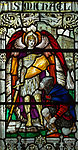 Stained glass window of Saint Michael an a soldier, Saint Thomas church, Salisbury, Wiltshire, England, 1920, by James Powell and Sons