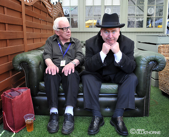 """Barry Cryer with Mark Brailsford in costume as Tony Hancock after a performance of """"The Lad Himself"""" . The Loft Bar Gilded Balloon Edinburgh"""