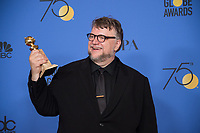 After winning the category of BEST DIRECTOR &ndash; MOTION PICTURE for &quot;The Shape of Water,&quot; director Guillermo del Toro poses backstage in the press room with his Golden Globe Award at the 75th Annual Golden Globe Awards at the Beverly Hilton in Beverly Hills, CA on Sunday, January 7, 2018.<br /> *Editorial Use Only*<br /> CAP/PLF/HFPA<br /> &copy;HFPA/PLF/Capital Pictures