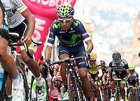 TUNJA - COLOMBIA- 21- 02-2016: Nairo Quintana (C) durante la prueba ruta categoría Elite hombres con recorrido entre las ciudades de Sogamoso y Tunja en una distancia 174,6 km kilometros de Los Campeonato Nacionales de Ciclismo 2016, que se realizan en Boyaca. / Nairo Quintana during the Elite test individual route men conducted  between the towns of Sogamoso and Tunja at a distance of 174,6 km of the National Cycling Championships 2016 performed in Boyaca. / Photo: VizzorImage / Cesar Melgarejo / Cont.