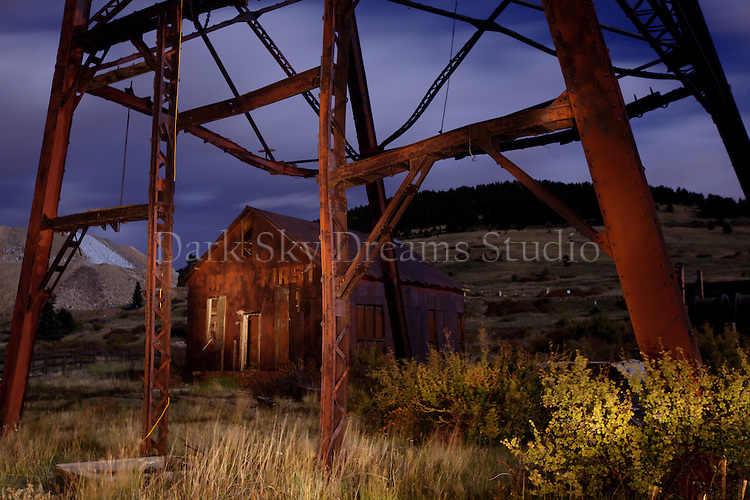 Nighttime at the Headframe and Mine Offices of the Historic Vindicator Mine at Goldfield, Colorado