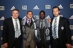 January 17th, 2013: Vancouver Whitecaps FC draft picks. From left: Team President Bob Lenarduzzi, #5 pick Erik Hurtado, #4 pick Kekuta Manneh (GAM), and head coach Martin Rennie (SCO). The 2013 MLS SuperDraft was held during the NSCAA Annual Convention held in Indianapolis, Indiana.