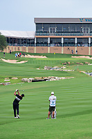 Brooks Koepka (USA) hits his second shot on 18 during round 1 of the Valero Texas Open, AT&amp;T Oaks Course, TPC San Antonio, San Antonio, Texas, USA. 4/20/2017.<br /> Picture: Golffile | Ken Murray<br /> <br /> <br /> All photo usage must carry mandatory copyright credit (&copy; Golffile | Ken Murray)