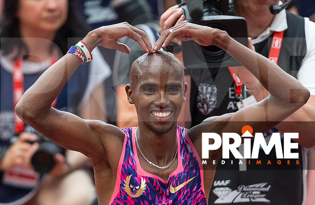 Sir Mo Farah celebrates his 3000m win during the IAAF Diamond League Muller London Anniversary Games 2017 at the Queen Elizabeth Park, Olympic Park, London, England on 9 July 2017.  Photo by Andy Rowland.