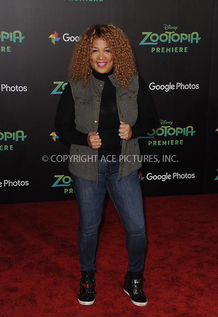 WWW.ACEPIXS.COM<br /> <br /> February 17 2016, LA<br /> <br /> Kym Whitley attending the premiere of Walt Disney Animation Studios' 'Zootopia' at the El Capitan Theatre on February 17, 2016 in Hollywood, California. <br /> <br /> <br /> By Line: Peter West/ACE Pictures<br /> <br /> <br /> ACE Pictures, Inc.<br /> tel: 646 769 0430<br /> Email: info@acepixs.com<br /> www.acepixs.com