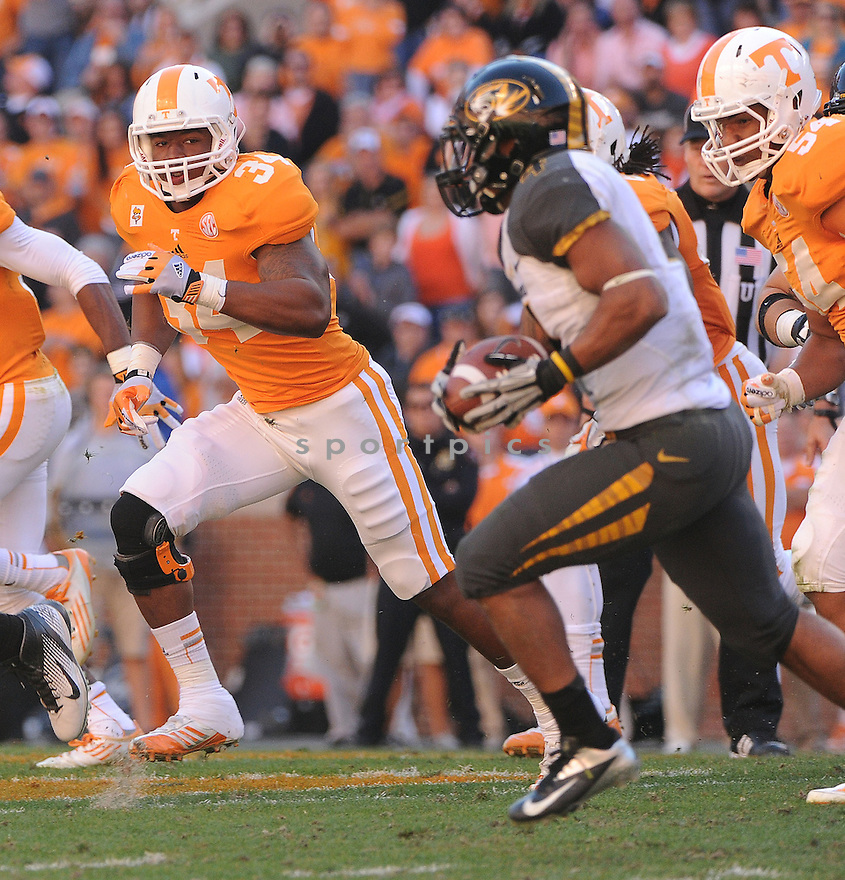 Tennessee Volunteers Herman Lathers (34) during a game against Missouri on November 10, 2012 at Neyland Stadium in Knoxville, TN. Missouri beat Tennessee 51-48.