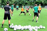 MARIENHOF - Voetbal, Trainingskamp FC Groningen , seizoen 2017-2018, 13-07-2017, FC Groningen speler Ritsu Doan met FC Groningen speler Ruben Ettergard Jenssen