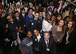 Nik Walker and James Basker backstage with student performers before the Gilder Lehman Institute of American History Education Matinee of 'Hamilton' at the Richard Rodgers  Theatre on December 15, 2016 in New York City.