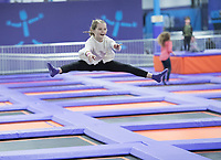 NWA Democrat-Gazette/J.T. WAMPLER Lillee Lyons ((CQ)), 10 of Fayetteville shows off her bouncing skills Sunday Feb. 11, 2018 at Altitude Trampoline Park in Fayetteville. The business opened it's doors on Saturday Feb. 10 and is open seven days a week. For information go to https://jumpaltitude.com/fayetteville/