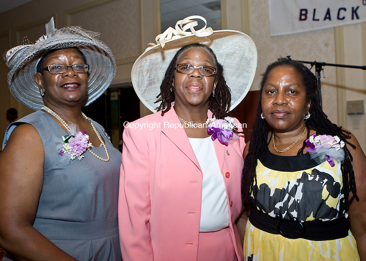 WATERBURY, CT - 26 APRIL 2009 -042609JT08-<br /> From left, committee members Barbara Jones, Vernial Walker and Claudia Rhinehart during the National Congress of Black Women, Inc. Greater Waterbury Chapter's 20th anniversary luncheon at the Holiday Inn in Waterbury on Sunday, April 26, 2009. The event honored former chapter chairs Hon. Joyce K. Jones, Adrienne D. Parkmond, Alderwoman Joyce H. Petteway, Labor Commissioner Patricia H. Mayfield and Dr. Jacquelyn Jordan, featured keynote speaker Dr. E. Faye Williams, National Chair for the NCBW and awarded a scholarship to Cindy Narine.<br /> Josalee Thrift Republican-American