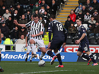 Paul McGowan tackles Evangelos Ikonomou in the St Mirren v Ross County Clydesdale Bank Scottish Premier League match played at St Mirren Park, Paisley on 19.1.13.