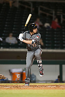 Salt River Rafters designated hitter Drew Ellis (13), of the Arizona Diamondbacks organization, at bat during an Arizona Fall League game against the Mesa Solar Sox at Sloan Park on October 16, 2018 in Mesa, Arizona. Salt River defeated Mesa 2-1. (Zachary Lucy/Four Seam Images)