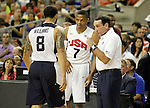 USA's coach Mike Krzyzewski (r), Deron Williams (l) and Russell Westbrook during friendly match.July 24,2012. (ALTERPHOTOS/Acero)
